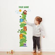 Personalized Safari Animal Growth Chart Wall Decal For