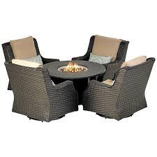 wicker fire table set