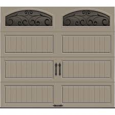 clopay gallery collection 8 ft x 7 18 4 r value intellicore sensation 40 4 wrought iron doors