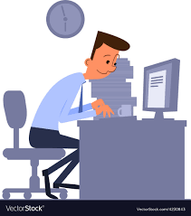 Cartoon Office Cartoon Office Worker Typing On Computer Vector Image