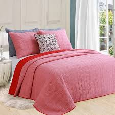 CHAUSUB Washed Cotton Quilt Set 3PCS Quilted Bedspread Solid Color ... & CHAUSUB Washed Cotton Quilt Set 3PCS Quilted Bedspread Solid Color Quilts  Bed Cover King size Coverlet Adamdwight.com