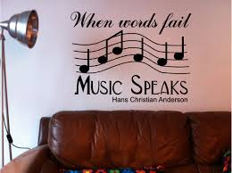 when words fail music hans christian anderson inspirational quote bedroom lounge wall art sticker vinyl decal on vinyl wall art words stickers with words fail music speaks wall art quote sticker vinyl bedroom lounge