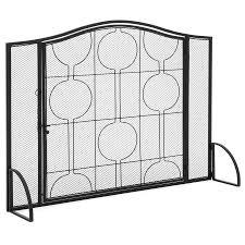 single panel steel mesh fireplace screen w locking door black