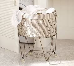 Round Wire Laundry Basket With Wheels