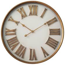 White Kitchen Wall Clocks Infinity Instruments White With Gold Roman Numerals 27 Inch Wall