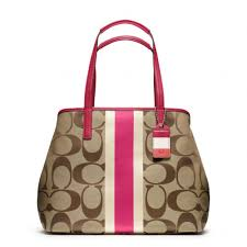 Lyst - Coach Hamptons Weekend Signature Stripe Medium Tote in Pink