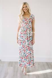 Beige Blue Floral Maxi Summer Dress Cute Modest Church Dresses