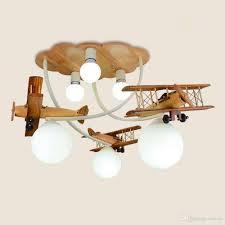 Großhandel Cartoon Holz Flugzeug Deckenleuchten Kreative