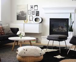 ... Living Room Modern with cowhide rug Fireplace floating. Image by:  Jennifer Hagler
