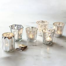 mercury glass candle holder set