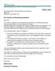 Assistant Cover Letter Sample Marketing Assistant Cover Letter Sample