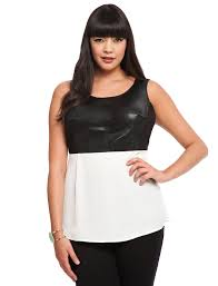 studio tank with faux leather bodice