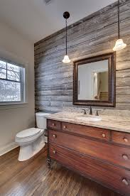 Barnwood Bathroom Powder Room With Barn Wood Accent Wall Vanity From Antique