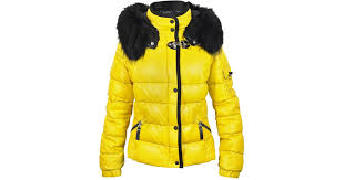 forzieri yellow leather puffer jacket w detachable fur hood in yellow lyst