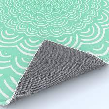 spiral mandala seafoam green curve round rainbow pattern unique minimalistic vintage zentangle rug