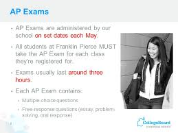 franklin pierce high school ppt  ap exams ap exams are administered by our school on set dates each