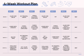 4 week monthly workout plan strength cardio