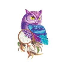 1 шт ловец снов сова дизайн временные татуировки стикеры поддельные татуировки