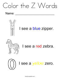Small Picture Color the Z Words Coloring Page Twisty Noodle
