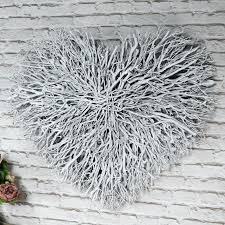 white wall art large white twig heart wall art white carved wood wall art uk