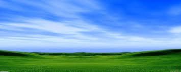 green grass blue sky.  Green View With Green Grass Blue Sky