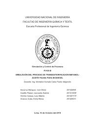 Trabajo Simula Biodiesel | Reactor Quimico | Biodiésel
