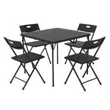 Cosco <b>5</b>-<b>Piece</b> Black <b>Fold</b>-in-Half <b>Folding</b> Card Table Set-37335BLK1