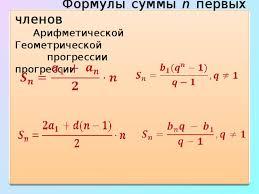 Арифметическая и геометрическая прогрессии в решении задач  Формулы суммы n первых членов Арифметической Геометрической прогрессии прогрессии