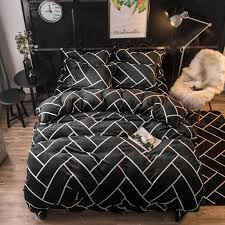 modern stripes flannel duvet cover set queen size bedding sets for men warm fleece bed sheet pillow case quilt cover for bedding canada 2019 from aozhouqie