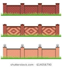 brick fences. Modren Brick Set Of Brick Stone Fences Use As Elements And Details For Scene Creating  Isolated With Brick Fences