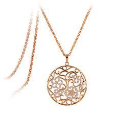 18k rose gold plated big round circle flower swarovski crystal pendant necklace narlino