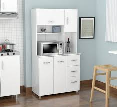 kitchen furniture white. Amazon.com: Inval America 4 Door Storage Cabinet With Microwave Cart, Laricina White: Kitchen \u0026 Dining Furniture White
