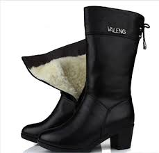 most popular 2019 newest fashion women shoes winter genuine leather boots with high heels inside wool in snow boots women boots shoes for