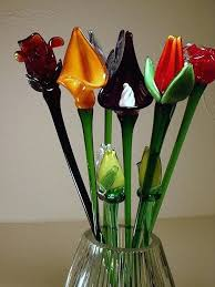 glass flowers with stems blown on long hand solar flower garden stake