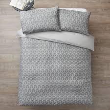 wilko geometric print grey double duvet set image 1