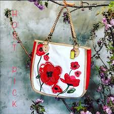 Coach poppy limited edition red appliqué tote bag