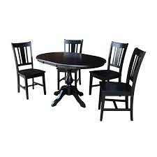 International Concepts Black 36 Inch Round Dining Table With 12 Inch
