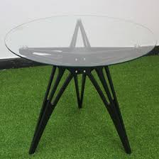 china supply glass top wood base black coffee table