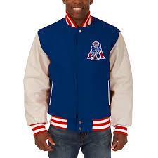autumn winter 2018 mens new england patriots jh design royal domestic vintage two tone wool leather jacket bulk
