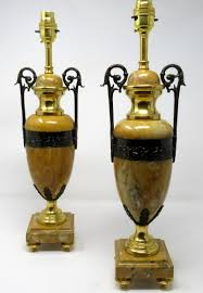 fine pair french sienna marble ormolu and bronze table lamps