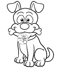 Small Picture Funny Dog with bone animal coloring page for kids animal coloring