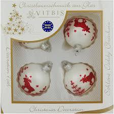 Vitbis Weihnachtskugeln Glas ø 6 Cm 4 Stück Dekor Weiß Rot
