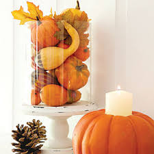 Light up your holiday table with this simple yet elegant DIY pumpkin  centerpiece.