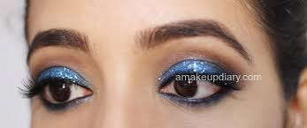 blue glitter eye makeup india