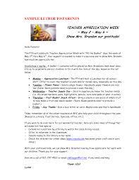 Teacher Appreciation Letter Gplusnick