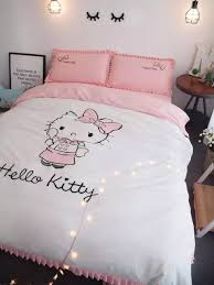 100 cotton carton stye o kitty embroidered bedding sets white duvet cover pink bedsheet pollowcases king queen size red bedding kids comforter sets