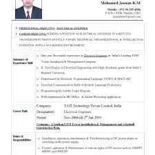 Electrical Resume Format Curriculum Vitae Name Mobile E Electrical
