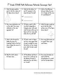 7th Grade Math Staar Reference Sheet Scavenger Hunt In 2019
