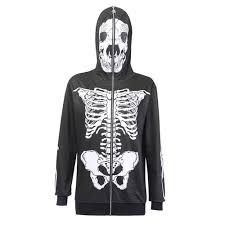 <b>Halloween</b> Gothic Skull Print <b>Hoodie</b> Women Goth Black Zipper ...