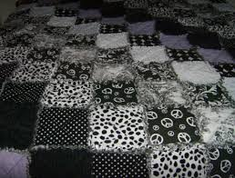 Black White Minky Flannel Cotton Rag Quilt Designer Fabrics Full ... & Custom Made Black Purple White Minky Flannel Cotton Rag Quilt Designer  Fabrics Full Size Adamdwight.com